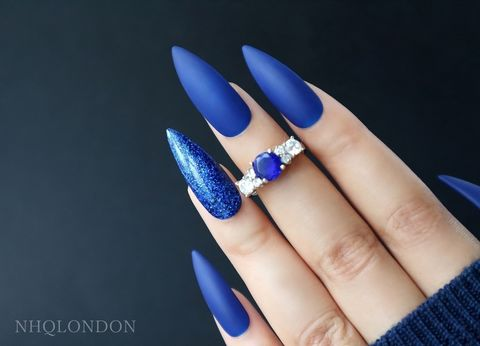 BLUE,DIAMOND,Matte blue Stiletto nails, Press on nails in blue glitter