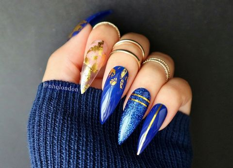 CAIRO,Blue and gold stiletto nails, press on nails
