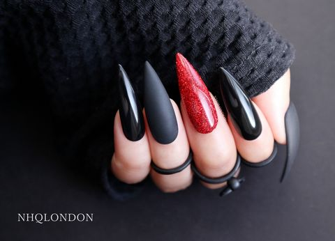 OBSESSION,red glitter stiletto nails, long stiletto nails, press on nails, Gothic nails