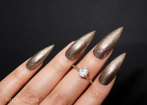 CHAMPAGNE,KISSES,gold nails, new years eve nails, gold stiletto nails, gold press on nails