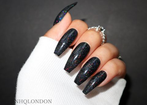 INTERSTELLAR,black holographic nails, holographic coffin nails, black matte nails, black press on nails, press on nails