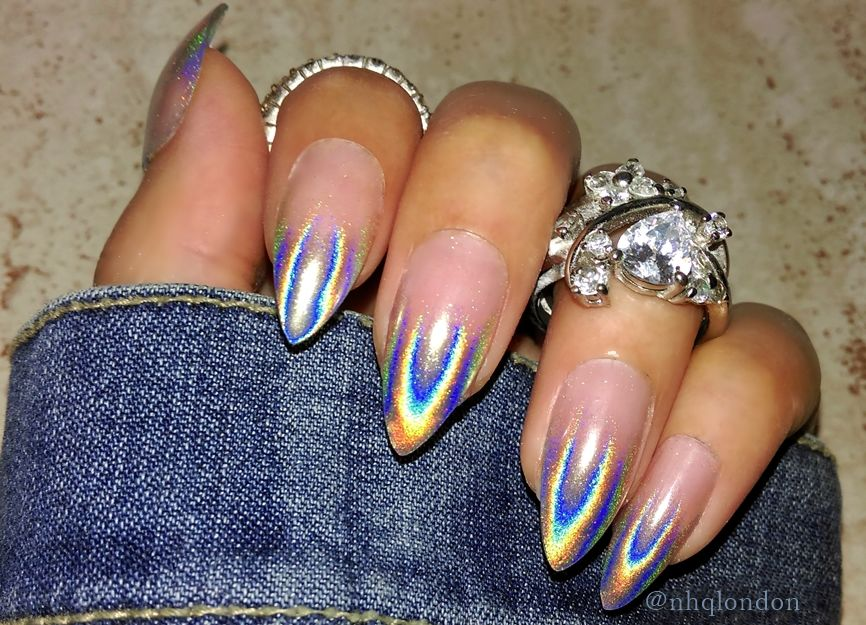 holographic stiletto nails, press on nails, nhq london