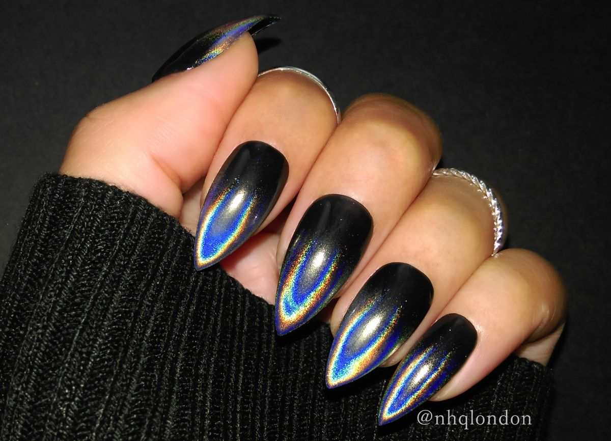 black holographic nails, black press on nails