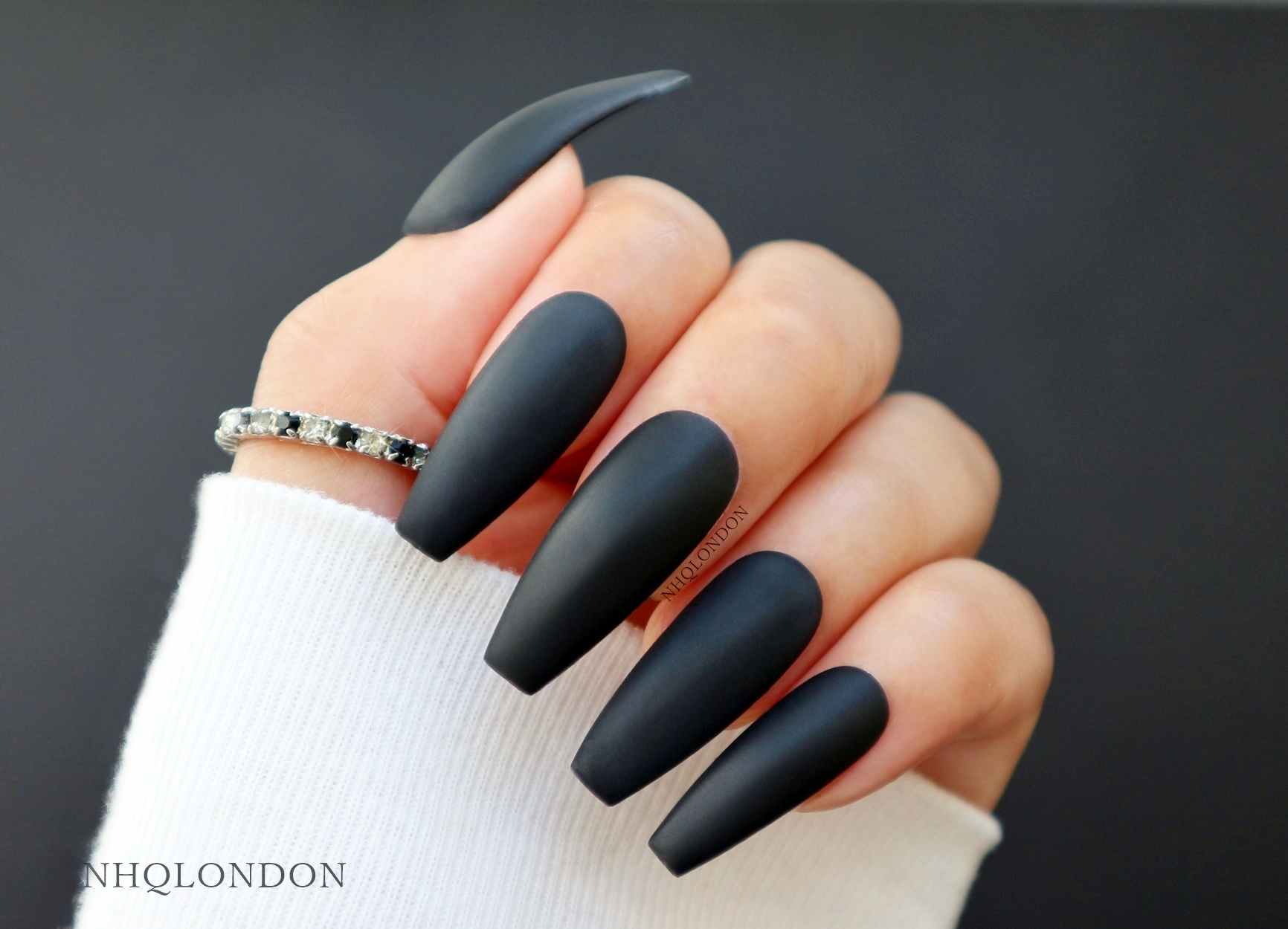 black coffin nails, black press on nails