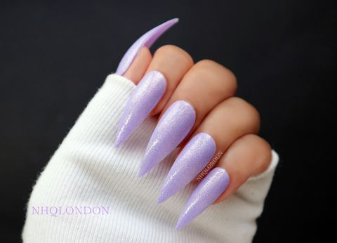 PEGASUS,PIXIE,Purple stiletto nails, shimmer nails, purple shimmer nails