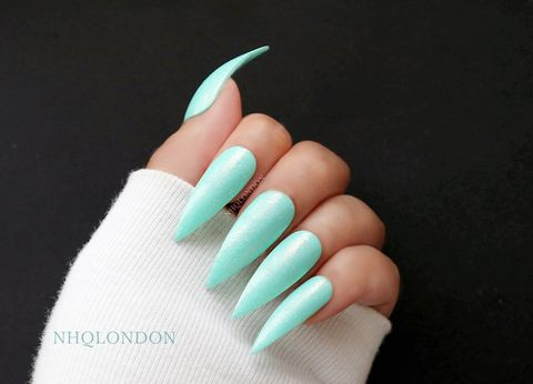 SEA,DREAM,PIXIE,shimmer stiletto nails, turquoise nails, turquoise stiletto nails