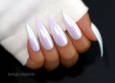 Unicorn Skin Nails Chrome Stiletto