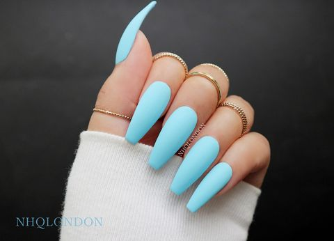 ANGEL,baby blue coffin nails, blue coffin nails, press on nails, faux nails