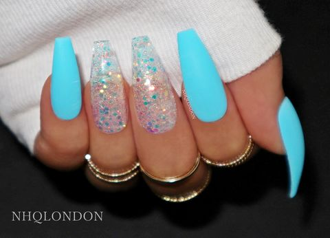 L.A,blue coffin nails, blue glitter nails, glitter press on nails