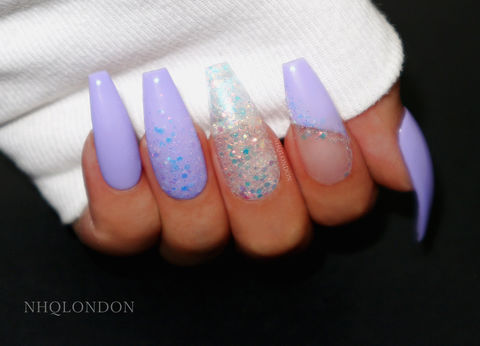 MAGICAL,purple coffin nails, mermaid coffin nails, press on nails