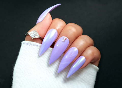 ULTRAVIOLET,LILAC,ultraviolet nails, lilac stiletto nails, unicorn chrome press on nails