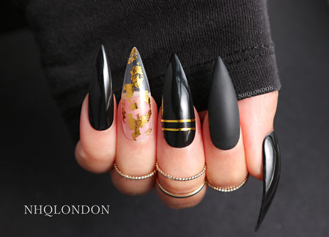 CLEOPATRA,black stiletto nails, press on nails, gold leaf nails