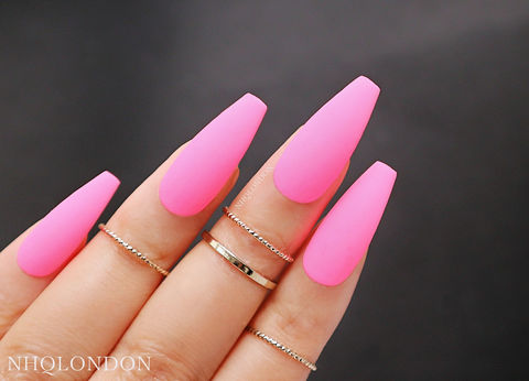 FLAMINGO,matte pink coffin nails, press on coffin nails,