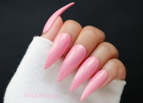 PRINCESS,PIXIE,shimmer stiletto nails, shimmer pink nails, pink stiletto nails