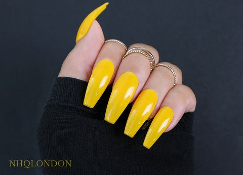 TRENDSETTER,yellow coffin nails, press on nails, sunflower yellow nails, coffin press on nails