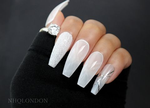 SALT,press on nails, coffin press on nails, milky white coffin nails