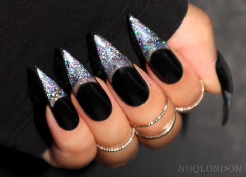BORDERLINE,GLITTER,[BLACK],black stiletto glitter nails, press on nails, stiletto press on nails