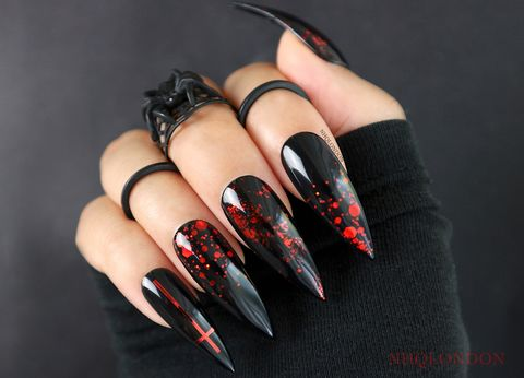 RAPTURE,black and red stiletto nails, gothic press on nails, press on nails