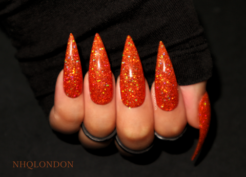 PUMPKIN,HOLO,press on nails, orange stiletto nails, faux nails