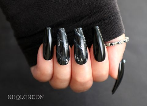 STONE,COLD,press on nails, press on coffin nails, marble nails, black stick on nails