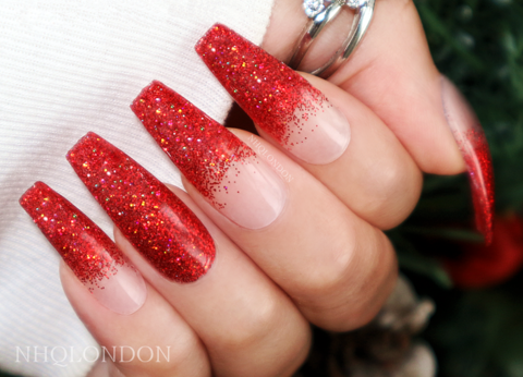 Naughty,&,Nice,red press on nails, Christmas nails, Coffin press on nails