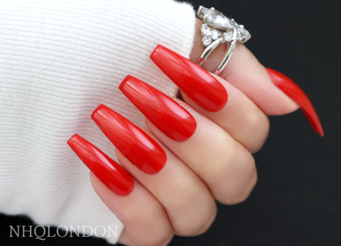 HOLLYWOOD,red coffin nails, red glossy nails, press on nails