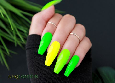 SUPERCHARGED,custom press on nails, press on nails, neon coffin nails