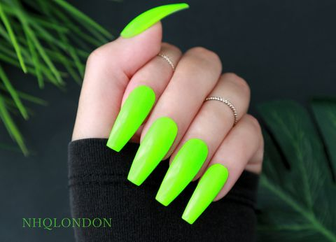 CHARGED,UP!,press on coffin nails, neon coffin nails, press on nails