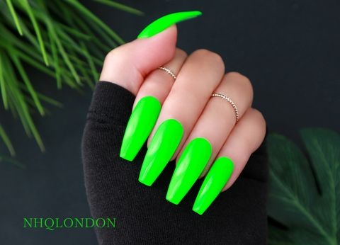 HYPE,press on nails, neon trend, press on coffin nails, neon nails