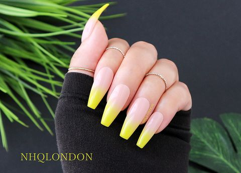 SUNSHINE,FADE,luxury press on nails, coffin press on nails, yellow ombre nails, yellow coffin nails