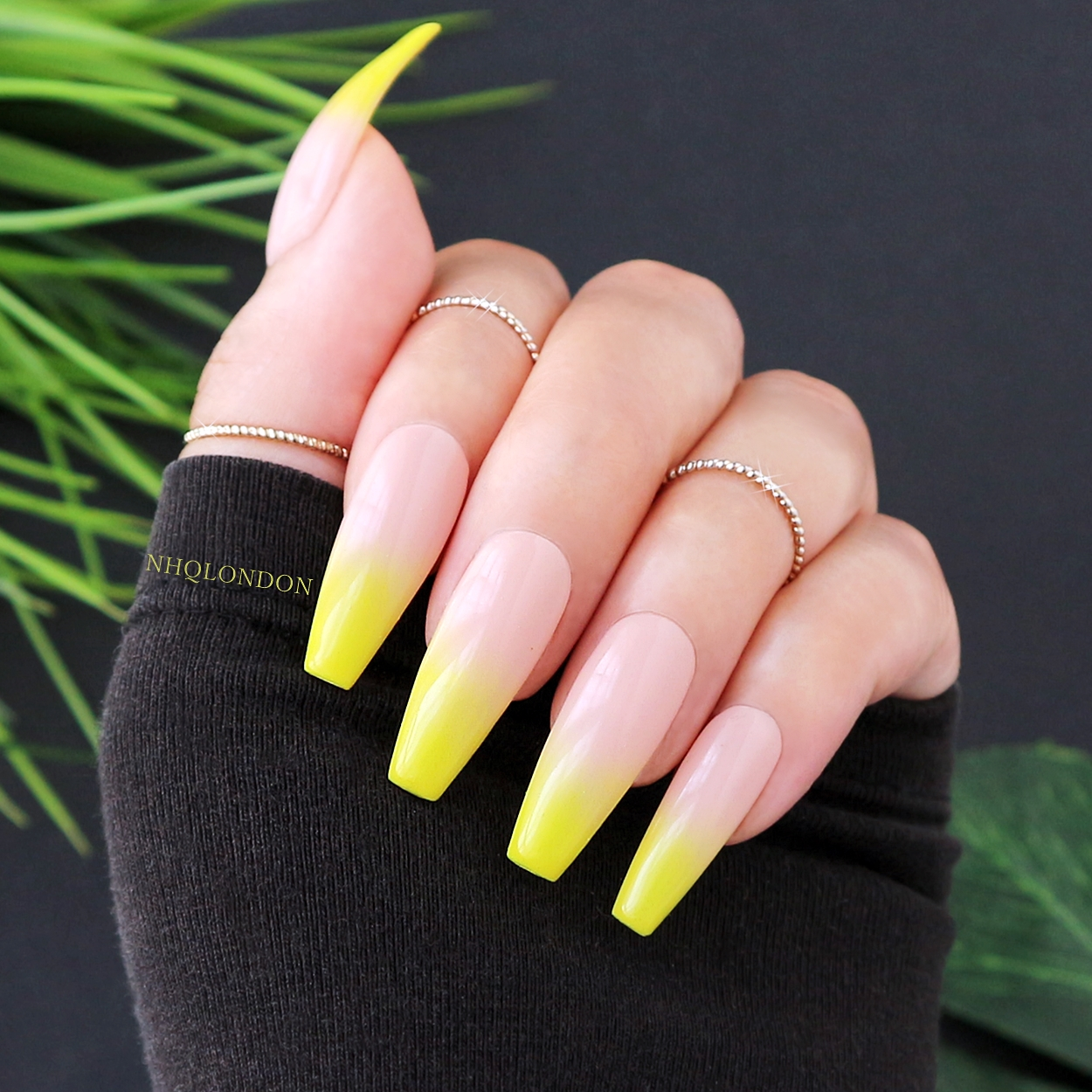Ombre Yellow Nails NHQ London