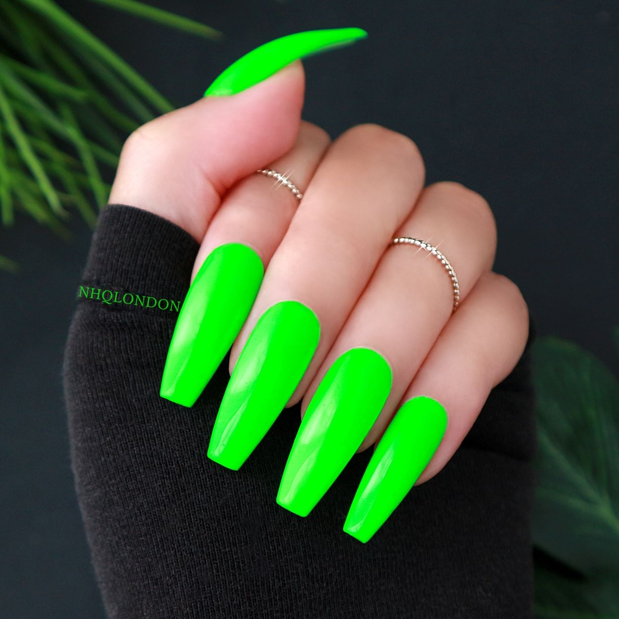 Neon Coffin Nails, Neon Green Nails, NHQ London