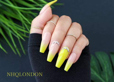 FANCY,Luxury press on nails, Swarovski nails, press on nails, yellow coffin nails