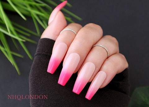 STRAWBERRY,FADE,press on nails, coffin press on nails, pink ombre nails, pink coffin nails