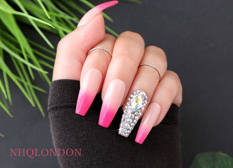 GLAMBITION,press on nails, coffin press on nails, luxury press on nails, Swarovski nails