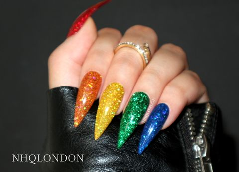 RAINBOW,GLITTER,rainbow stiletto nails, rainbow press on nails, rainbow glitter nails