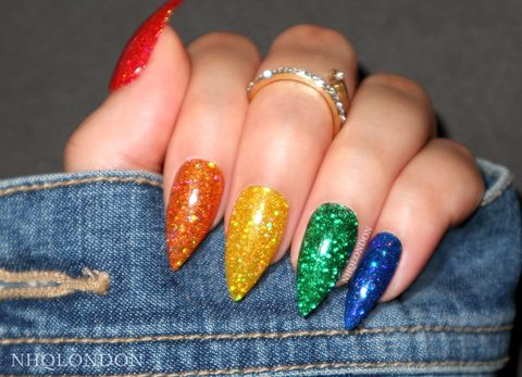RAINBOW,GLITTER,press on nails, rainbow nail design, rainbow nails, custom press on nails