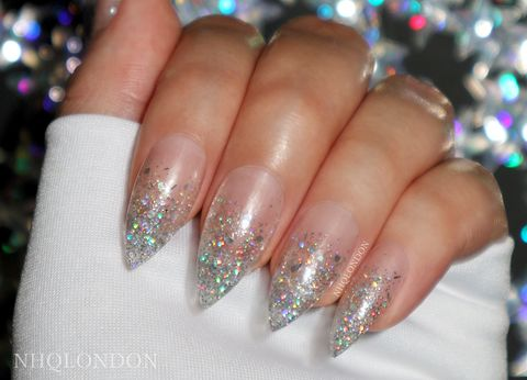Holo,Glitter,Falls,stiletto nails uk, press on nails uk, press on nails, fake nails, false nails, acrylic nails, matte nails, black matte nails