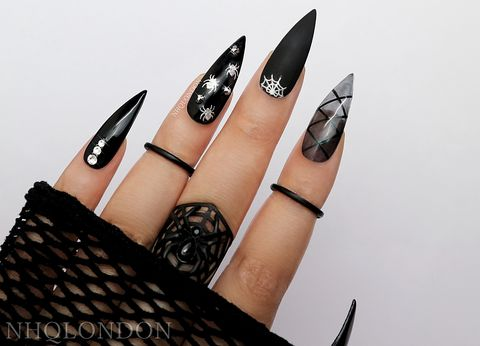 CREEP,black stiletto nails, press on nails, press on nails uk