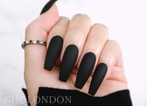 Matte,Black,Coffin,Nails,Black coffin nails, press on nails, matte fake nails
