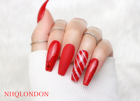 Santa,Baby,Christmas nails, Christmas Coffin nails, coffin nail design, press on nails