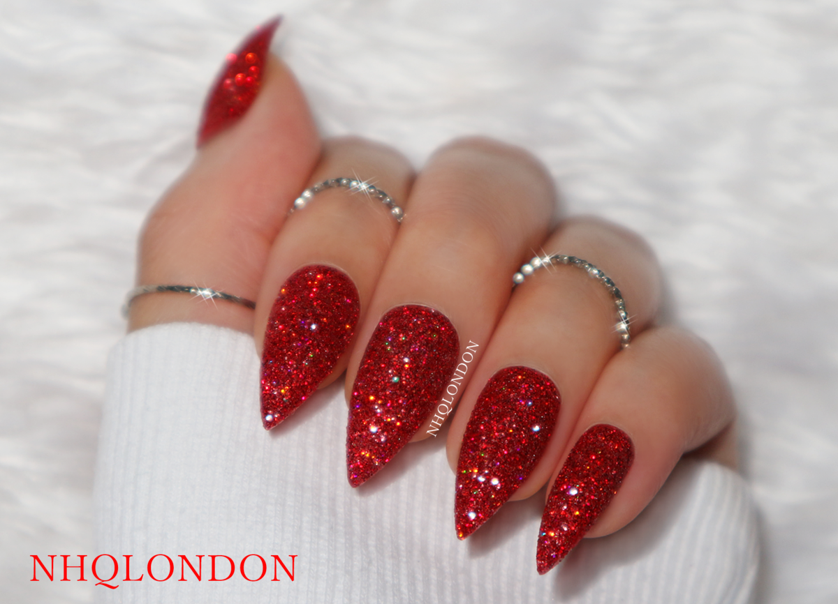 red glitter nails, red press on nails stiletto, nhq london