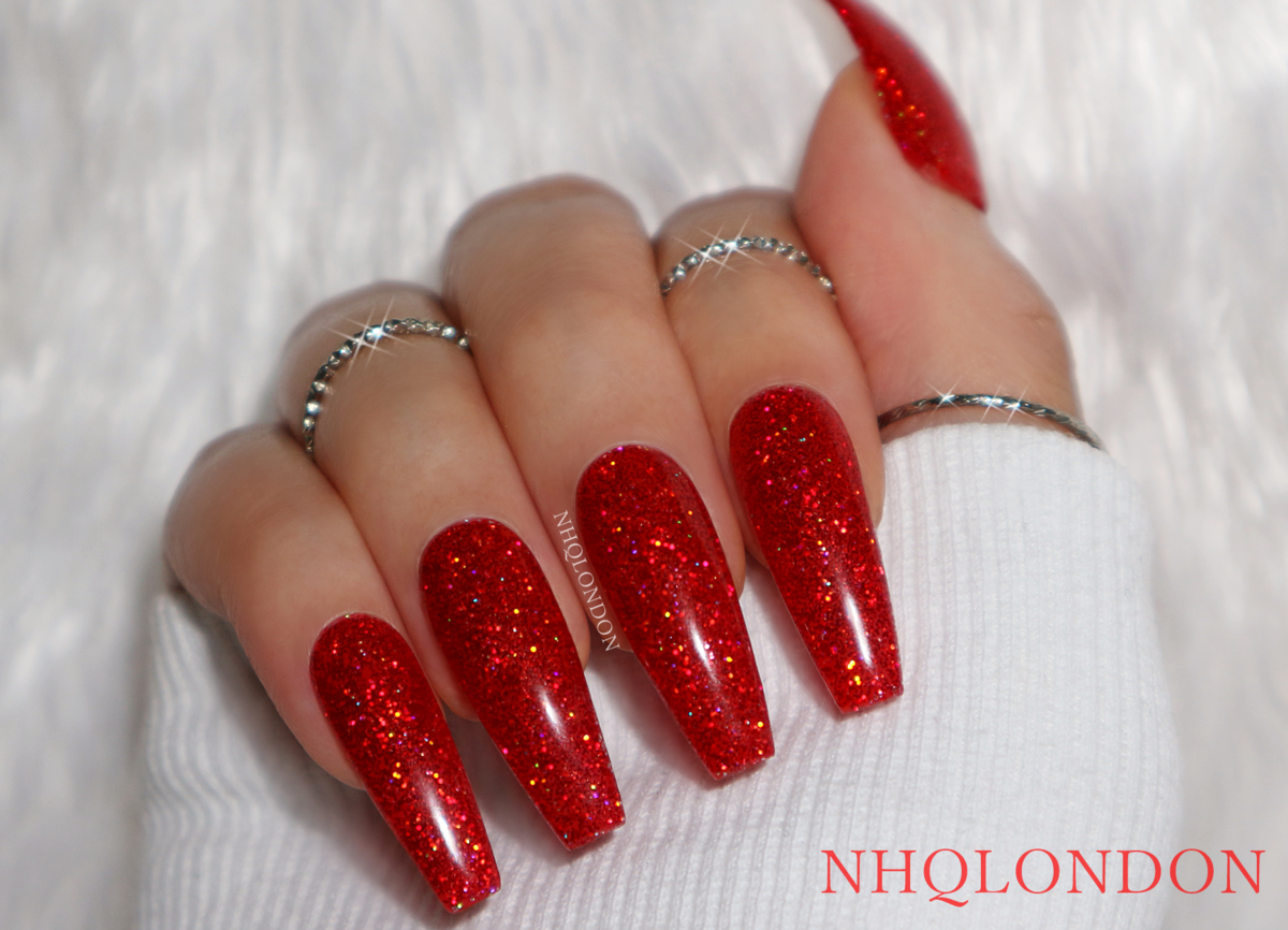 Coffin red glitter nails, press on nails