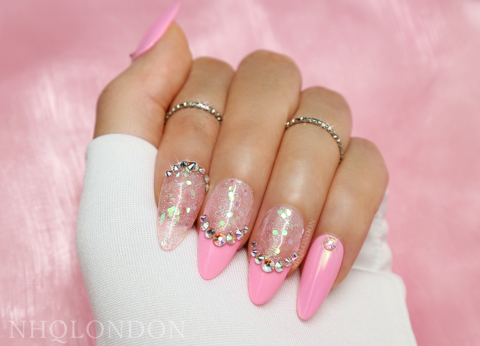 FAIRYTALE,pink glitter nails, press on nails uk, custom press on nails uk