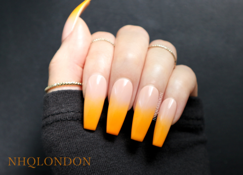 ORANGE,FADE,luxury press on nails, coffin press on nails, press on nails uk, orange coffin nails