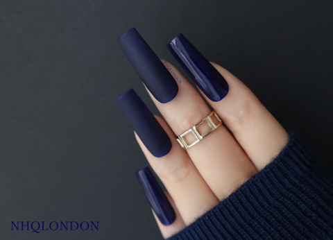 EXCLUSIVE,luxury press on nails, press on nails uk, custom press on nails, long blue nails