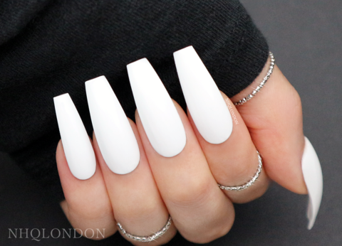 WHITE,COFFIN,NAILS,White coffin nails, press on nails, press on coffin nails