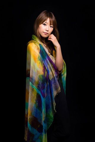 Bird,of,Paradise,Scarf,digital print scarf scarves painterly silk modal blue yellow green