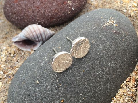 Silver,Leaf,Earrings,Silver stud earrings leaf natural