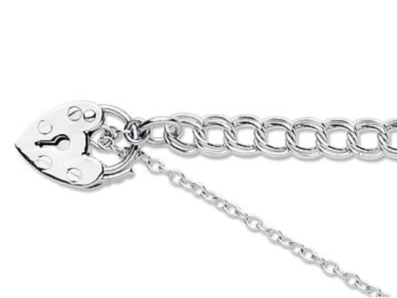 Silver link bracelet with padlock and safety chain - product images
